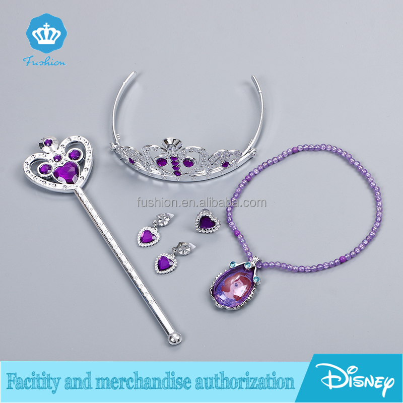Kids Toys Elsa Anna Party Frozen Costume Accessory Set Jewelry Crown+Wand+Necklace+Ring+Earrings Sets