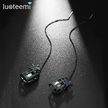 LUIOTEEMI Fashion Black Gun Plated Multicolor Zicon Crystal Birdcage With Pearl Inside Women Drop Earrings