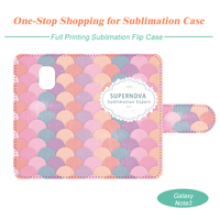 Sublimation Blank Flip Leather Mobile Phone Case, Full Cover Printing for Samsung Note3