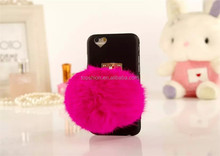 New products 2015 for iPhone 6 6s cell phone case with plush ball design, high quality back cover case