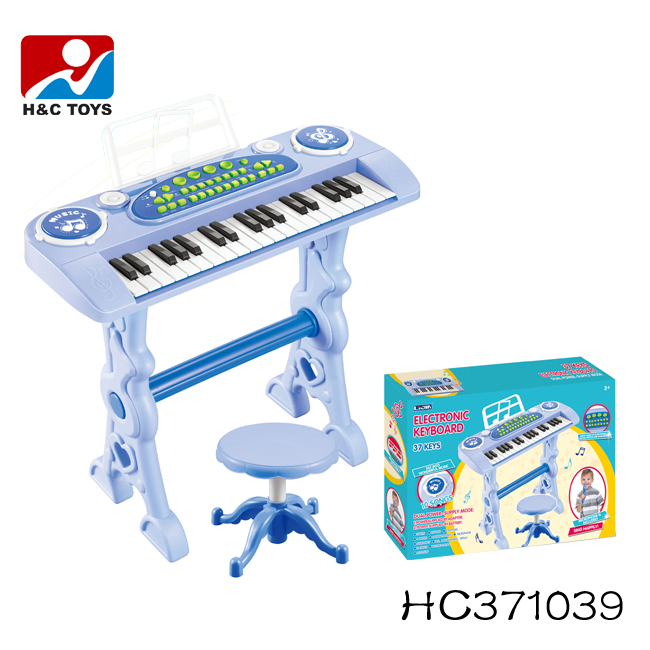 Musical instrument toy 37 keys plastic electronic piano keyboard with microphone HC371039