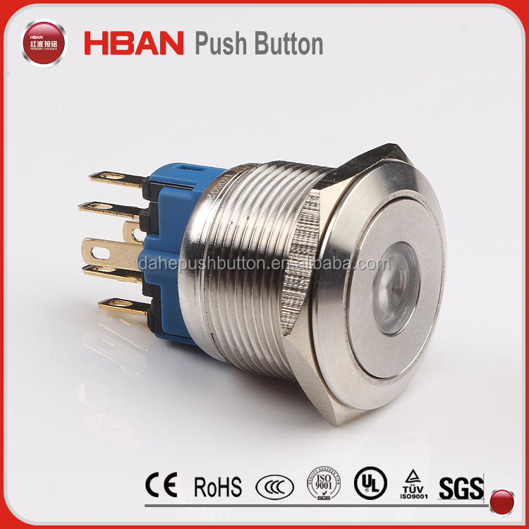 ul 10mm 22mm anti vadal stainless steel 120v ring led illuminated momentary latching push button firemodel 20a power switch