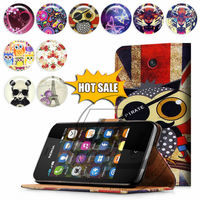 For Nokia Asha 501 High Quality Print Card Holder Flip PU Folio Wallet Leather Case Cover Moible Phone Csae