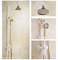 New arrival white painting bath&shower faucet set with brass rainfall shower head