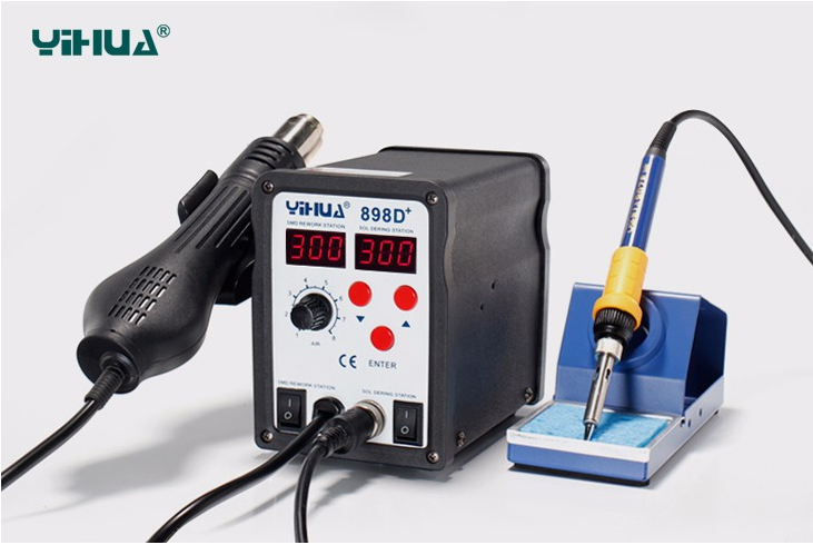 110V/220V ,2 in 1 SMD rework soldering station 898D+,hot air gun+ soldering iron , Soldering station