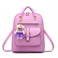 women pu leather backpack summer students fashion casual bear shoulder bag