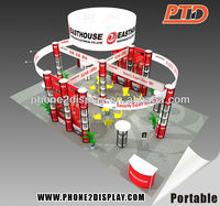 3*6 Trade show custom exhibition booth with spiral tower stands and fabric banner wall easy set up recycling and reuse