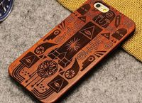 Newest product real wood case for iphone 6s laser carved bamboo phone case for iphone 6s