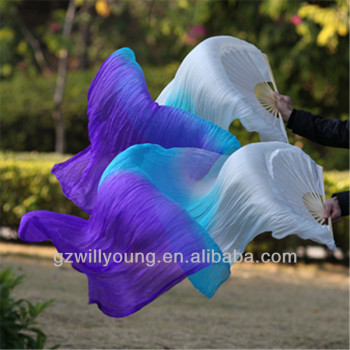 1Pair(Left+Right), WHITE/TURQUOISE/PURPLE,Belly Dance Silk Fan Veils, Real Silk Material, 180*90CM