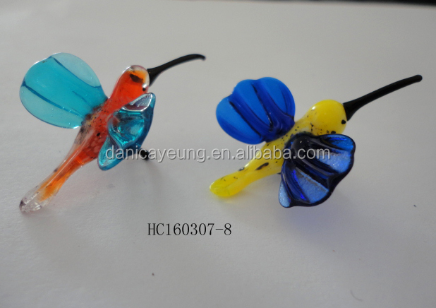 Hand blown colorful glass bird for decoration