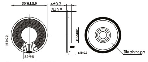 DXI28N-E  Professional manufacturer high quality 8ohm 0.5W diameter 50MM  Mylar Speaker