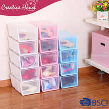 2015 Multifunction home storage pp plastic stackable shoe box with lid shoes store shelf rack organizer