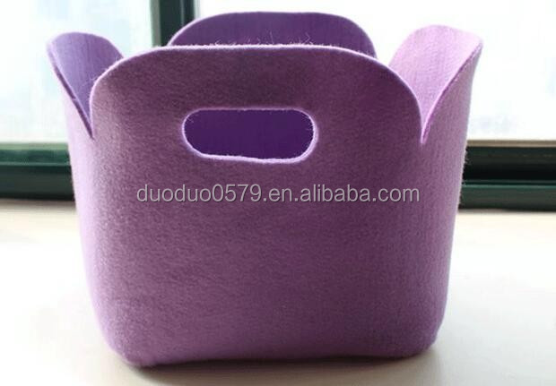 LC002 Square clothes toys laundry hamper handy laundry bag felt storage bin bag