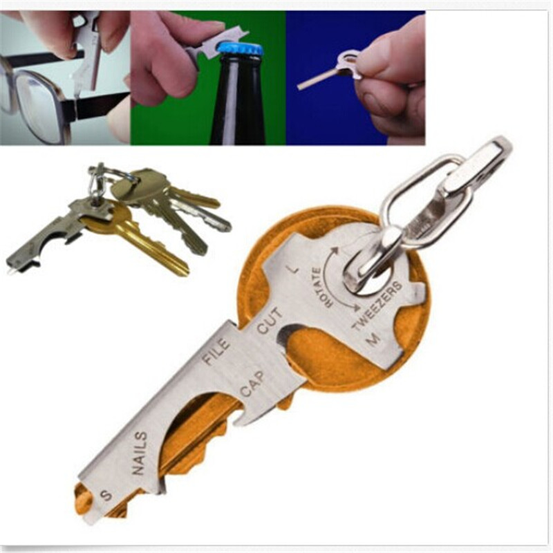 2016 New Arrival 8 In 1 Stainless Key Ring Hanging Buckle Multifunctional Tool Outdoor Survive Hot Sale