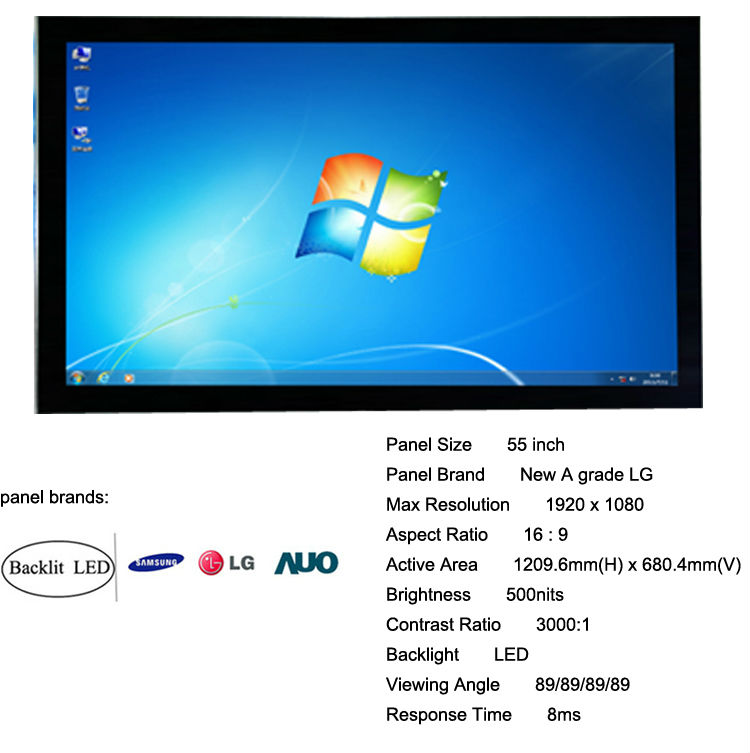 55inch all in one desktop pc tv touchscreen (HQ55EW-C1.15.6inch to 65inch)