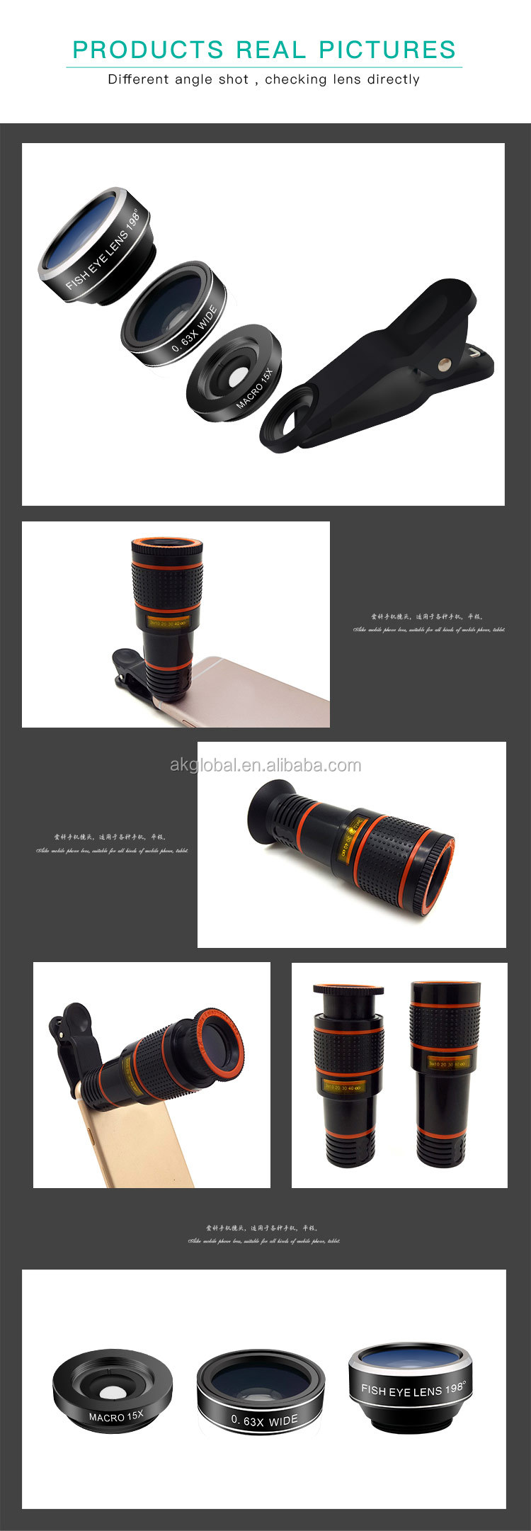 factory wholesale telephoto zoom lens wide angle macro fisheye 4 in 1 mobile phone camera lens for iphone cell phone