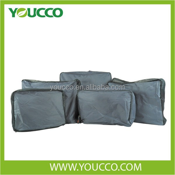 Polyester mesh cover 5 set of packing cubes organizer for travel