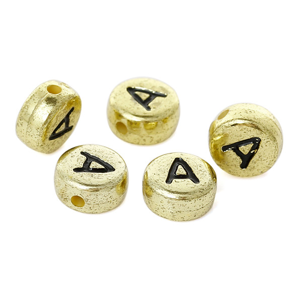 "Acrylic Spacer Beads Flat Round Gold Tone Black Alphabet/Letter ""A"" Pattern About 7mm Dia,Hole:Approx 1mm,1000PCs"