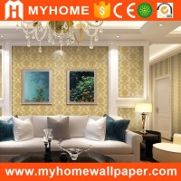 Latest royal flower embossed washable design pvc wall paper