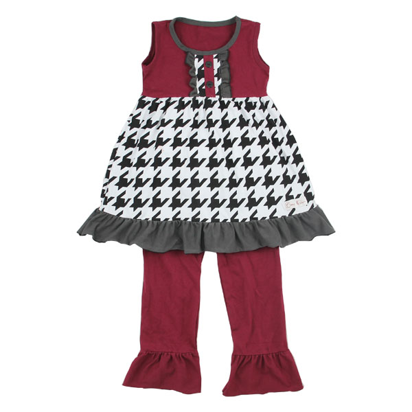 Wholesale 2016 Children's boutique clothing Houndstooth pattern saw sassy clothing sets toddler boutique outfits