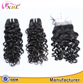 Unprocessed jerry curl Peruvian virgin natural human hair bundles with lace closure