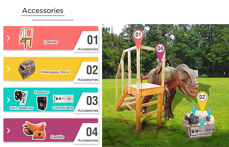 Outdoor kids park riding dinosaur