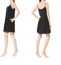 Plain Loose Spaghetti Straps New Modal Black Nightdress Women Sleepwear Pajamas
