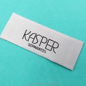 High quality clothing woven custom garment accessories white damask label manufacturer