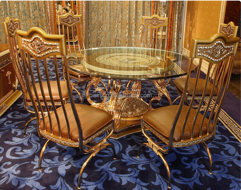 luxury french baroque style dining room sets antique golden brass metal base round dining table. Black Bedroom Furniture Sets. Home Design Ideas