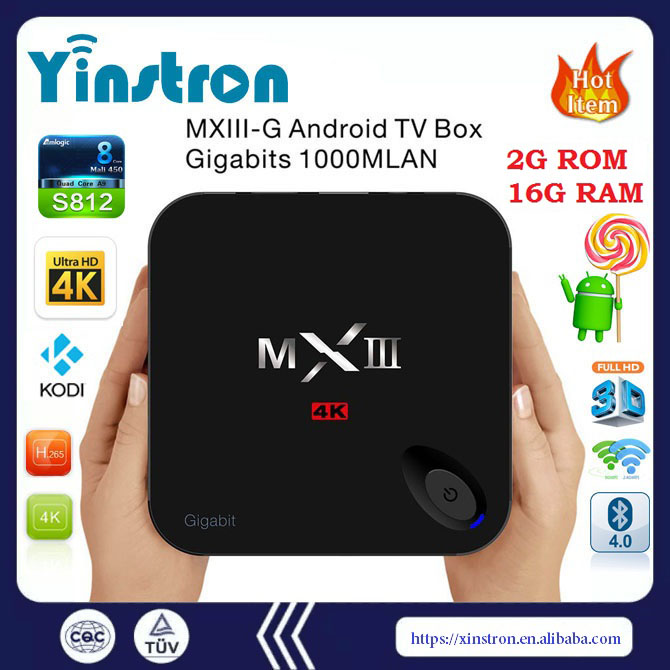 Android 5.1 Os Mxiii-g 1000m Lan Smart Tv Box Amlogic S812 2g 16g Mx3-g android tv box