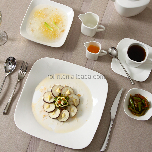 Hot sale hotel&restaurant square white ceramic plates,chaozhou crockery Square plates, Catering porcelain squareplates wholesale