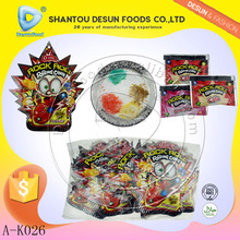 Low moq rock roll magic fruit popping candy