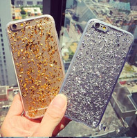 2016 fashion hard high quality PC case with gold and silver foil for apple i6 plus.
