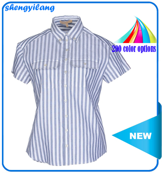 OEM/ODM service custom high quality women short sleeve striped linen guangzhou shirts