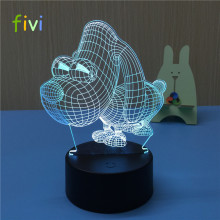 Big dog Touch Sensor novelty Acrylic 3D LED night light for bady room bedside table lamp creative Decoration Lightings