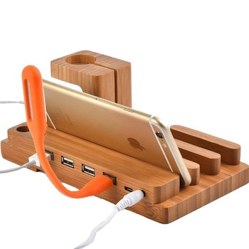 4 Ports Wooden Charging Dock Station Holder Bamboo Charger Stand Bracket Docking Holder Charger for mobile phone