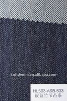 Indigo dyed slub knitted denim fabric