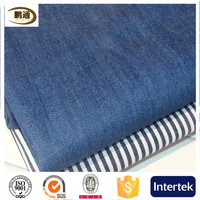 Denim fabric / pure cotton / black and white striped / blue NO stretch clothing pants fabric