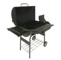 Moveable Barbecue Charcoal BBQ Grill With House Gate Grill Designs