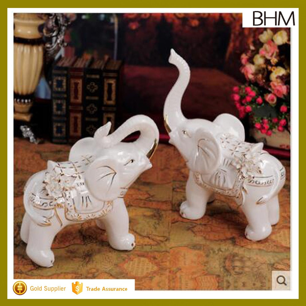 Hot sell gold couple love small ceramic elephant for gifts