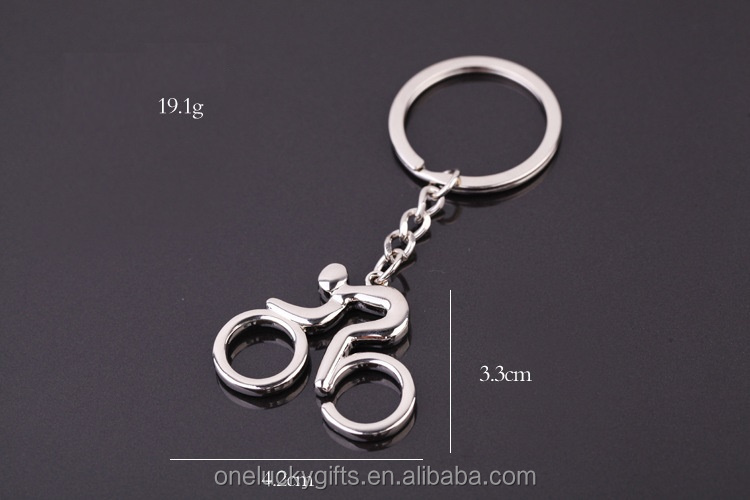 Best selling fashion jewelry 2016 wholesale alloy silver bike shaped keychain