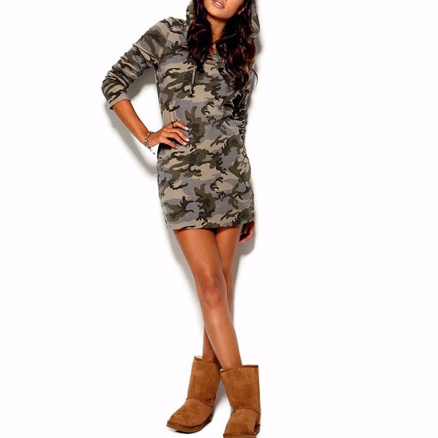 Casual Long Women T Shirt Hooded Long Sleeve Camouflage Tshirt Dresses