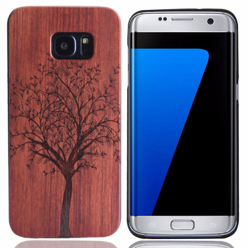 Mobile Phone Accessories Wooden Back Case For Samsung S7 edge With Laser Engraving Logo
