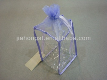2013 new PVC cosmetic drawstring bag with organza top