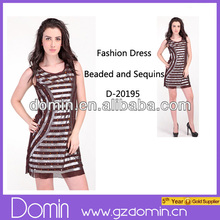 Latest Fashion Beaded and Sequins A Line Women Dress