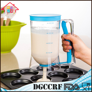 NBRSC Promotion Product Chicago Plastic Metallic Cupcake Batter Dispenser with Measuring Label