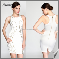 Beaded Summer Sexy Women White Bodycon Dress 2016 Fashionable