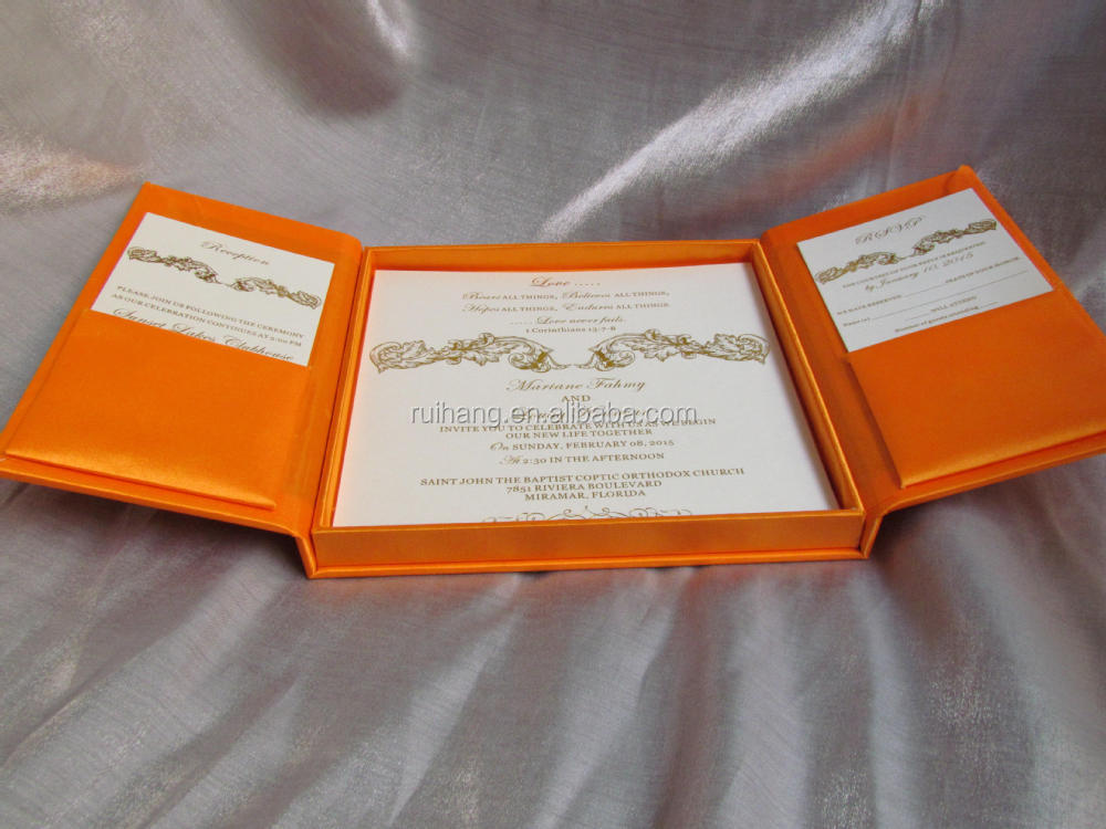 Silk Wedding Invitation Box White Bo Por