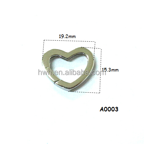 A0003 Shiny Stg Silver Heart Spring Clasp Plated Rhodium with 2 Pearl Cups