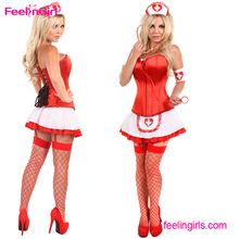 Plus Size Red Corset Japan Cosplay Sexy Hot Nude Nurse Doctor Costume